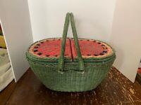Vintage Dayton Hudson Marshall Fields Large Watermelon Wicker Picnic Basket