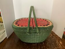 Vintage Dayton Hudson Marshall Fields Large Watermelon Wicker Picnic Basket