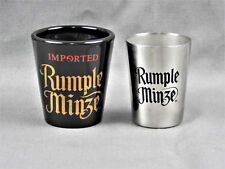 Rumple Minze German Peppermint Schnapps Shot Glass Set Black Glass & Stainless