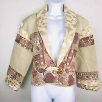 Flashback Womens Coat sz M Brown Quilted Pattern Bolero Sort Blazer New B59