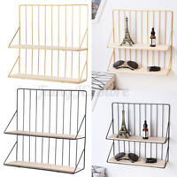 Metal Wood Wall Storage Shelf Rack Book Holder Decor Display Home Office DIY