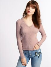 BNWT M&S Limited Edition Pink Ribbed V Neck Jumper Sweater Size 10