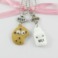 2pce Best Buds Choc Chip Cookie and Milk Friendship Charm Necklaces 42cm