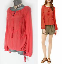 MONSOON Orange Coral Phoebe Long Sleeve Formal Casual Boho Shirt UK 10  EU 38