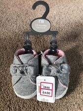 Mothercare Pram Shoes Grey Bow Baby Girls 1-3 Months