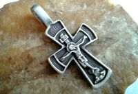 "VINTAGE STERLING SILVER ORTHODOX CRUCIFIX ""BLOOD OF CHRIST"" - ""SAVE and PROTECT"""