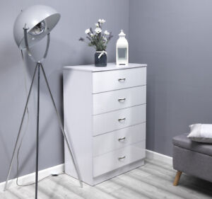 White High Gloss Large 5 Drawer Tall Chest of Drawers. Wood grain effect frame