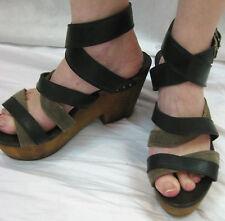 Rag & Bone Size 41 or 9.5 Black Strap Wood Wedge Sandal