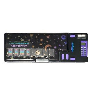 Smiggle Lunar Pop Out Id Pencil Case with Calculator Black galactic customise