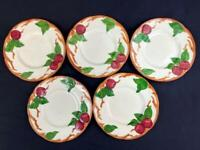 Vintage Lot Of 5 Franciscan Bread Butter Plates Apple Pattern Hand Decorated