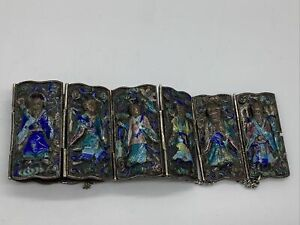 """Antique Silver Chinese Enamel Panel Bracelet W Replaced Safety Chain 6"""""""