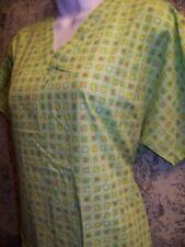 Bright green fruit check pullover v-neck scrubs top nurse dental medical women M
