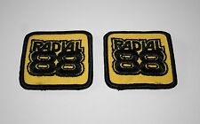2 Vintage Racing Car Radial 88 Tire Auto Cloth Jacket Patch 1980s NOS New