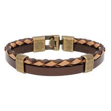 AQILA Herren Armband Vintage Leder Hakenverschluss dunkelbraun hellbraun 20,5 cm