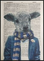 Sheep Lamb Print Vintage Dictionary Page Wall Art Picture Animal In Clothes
