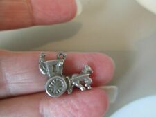 Horse Carriage Fob Charm Pendant Vintage Solid Sterling Silver Stagecoach Royal