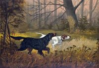 BIRD DOGS, HOUNDS, POINTERS, ANTIQUE VINTAGE ART PRINT, HUNTING