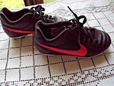 Nike Size 10C Boys Soccer Shoes Black With Pink Logo Made Vietnam Good Condition