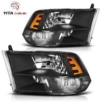 YITAMOTOR Lamp For 2009-2018 Dodge Ram 1500/2500/3500 Black Quad Headlights Pair