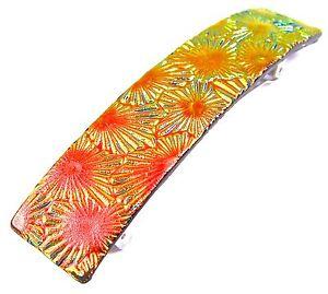 "Dichroic Glass Barrette 3.5"" 90mm Orange Copper Yellow Floral Patterns Hair Clip"