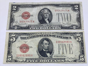 SET OF TWO 1928 ($2) TWO 1928 ($5) FIVE DOLLAR PAY TO BEARER ON DEMAND NOTES