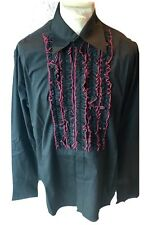 Steampunk Gothic Black Cotton Shirt Red Trim And Frill XL