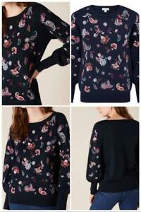Monsoon - Paisley Embroidered Sustainable Viscose Jumper - Size XL - Navy (BNWT)