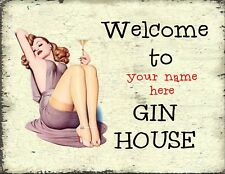 PERSONALISED Large Gin - Shabby Chic Plaque, Hanging Funn Sign, New Home  Gift