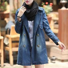 Women's Long Sleeve Denim Coat Jean Jacket Casual Loose Long Outwear Overcoat