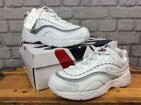 FILA MENS UK 7 EU 41 RAY WHITE NAVY RED CHUNKY SOLE TRAINERS RRP £75 LG