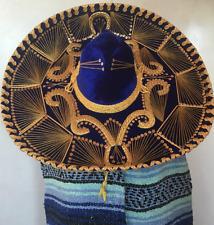 "Salazar Yepez Mexican Mariachi Hat Royal Blue Velvet Sombrero Charro 23"""