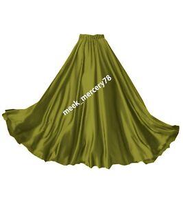 Flamenco Flowing skirt Olive Green Women's Belly Dance Full Circe Long Skirt S8