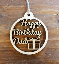 Dad Happy Birthday Gift Tag - Handmade - Wooden - Free Post (uk)
