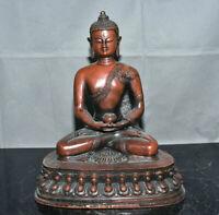 "10,4 ""Vieux bouddhisme de cuivre chinois Sakyamuni Amitabha Bouddha Sculpture"
