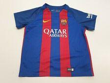 MM852 BOYS NIKE DRI-FIT BARCELONA BLUE RED STRIPED FOOTBALL T-SHIRT 6-7 YEARS