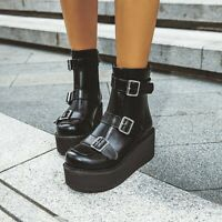 Womens Fashion Punk Round Toe Buckle Strap Platform Shoes Wedge Heel Ankle Boots