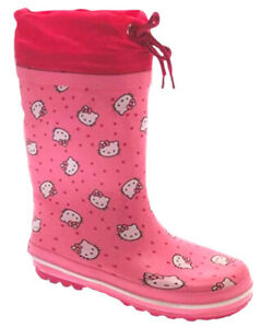 Girls Hello Kitty Tie Top Pink Rubber Wellies Wellingtons UK 10 - 13 BRAND NEW