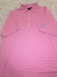 Fairway And Greene Tech Pink Blue Golf Polo Striped  Medium