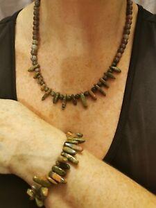 Gemstone necklace, unakite agate necklace bracelet and free earrings handmade