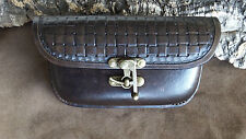 Leather belt pouch,bag,hand tooled Lattice, antique black,bum bag,archery,hike