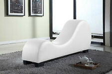 White Chaise Lounge Chair Indoor Leather Couch Sectional Bed Relax Living Room