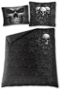 SKULL SCROLL - Double/Queen Blanket Cover + 2 Pillow Cases/Xmas/Metal/Death/Rock