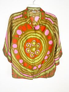 Women's Vera Vintage  Silk Blouse Groovy Colorful Shirt  Abstract Top Size 12