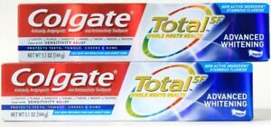2 Ct Colgate 5.1 Oz Total SF New Stannous Fluoride Advanced Whitening Toothpaste