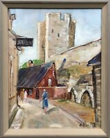 Oil Painting City View From Visby With People Sweden Anders Olsson