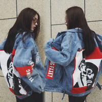 fashion ladies girls spring printed oversize loose denim jacket coat outwear