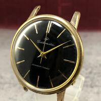 Serviced, Vintage 1961 SEIKO SEIKOMATIC Black Dial EGP GOLD PLATE Automatic #424