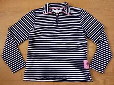 Rydale Heart of Yorkshire Ladies Navy Blue White Stripe Half Zip Sweater Size S