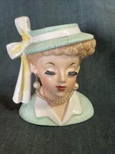 """Rare 1958 Original Napco W/ Foil Label Lucille Ball C3342A Lady Head Vase 4 3/8"""""""