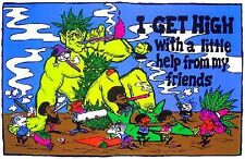 I GET HIGH - WEED BLACKLIGHT POSTER - 24X36 FLOCKED MARIJUANA SMOKING 1910